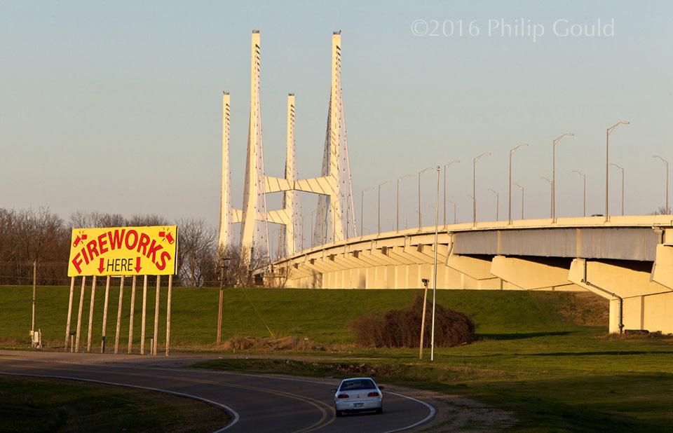 Mississippi River, Bridges, Greenville, Fireworks